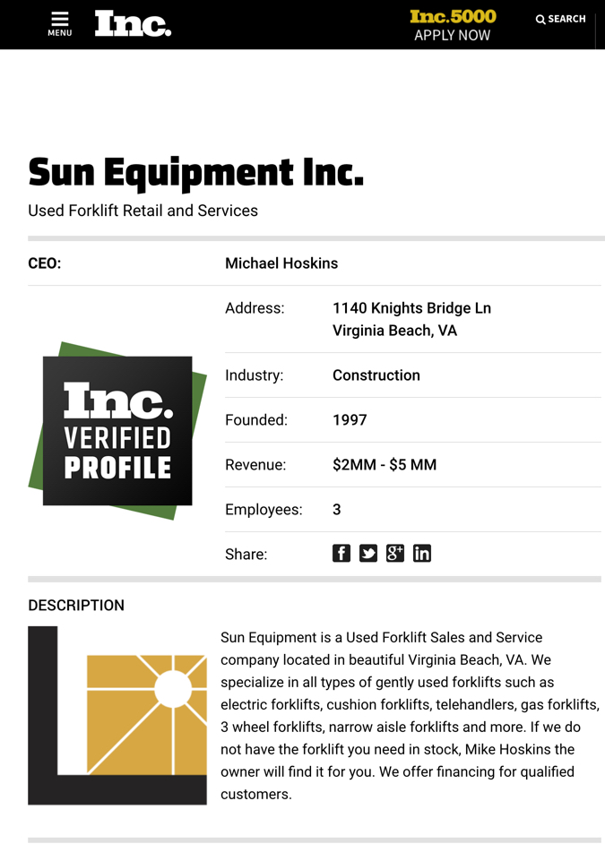 Sun Equipment INC. 500